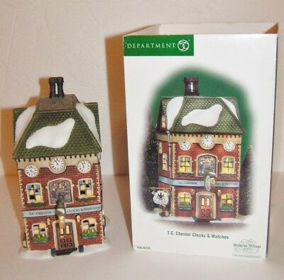 Dept 56 Dickens Village T C Chester Clocks & Watches 58726 ~Lighted
