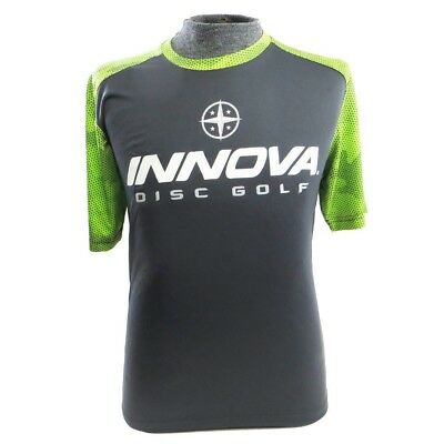 (Small, Gray w/ Green) - Innova Rising Star Hex-Camo Short Sleeve Performance
