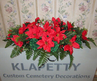 Red Poinsettias Christmas Flowers Memorial Day Cemetery Grave Headstone Saddle