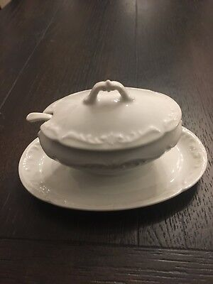 Antique All White Sugar Dish or Bowl with Spoon - Limoges France