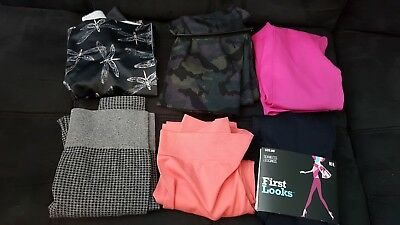 Assorted lot of 6 First Looks Seamless Stretch Leggings /Skimmers NWOT Size M/L