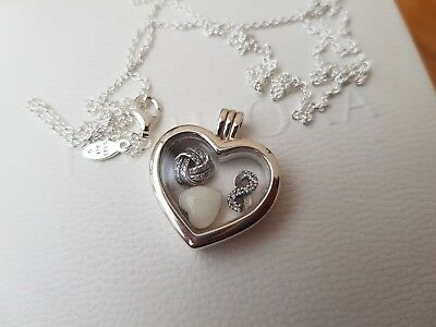 New Genuine Boxed Pandora silver floating heart charm locket necklace RRP£155