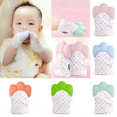 1X-2X Silicone Baby Mitts Teething Mitten Glove Candy Wrapper Sound Teether