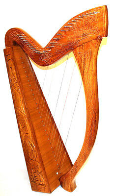 """Celtic Harp Beautiful Gift Carved Rosewood Lap Large 27 Strings 38"""" Strings Case"""
