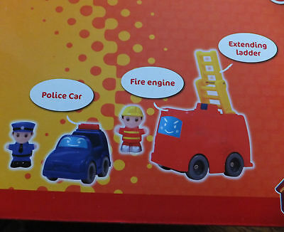Chad Valley - Emergency Rescue Playset. Fire Engine Helicopter Police Car,