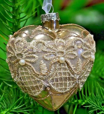Ancient Gold Glass Heart Bauble With Beige Laces, Christmas Ornament N17