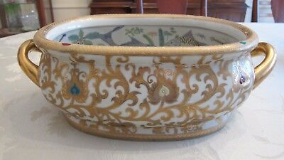 Large Vtg Hand Painted Chinese Porcelain Oval Planter/ Center Piece / Foot Bath