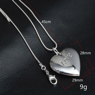 UK Love Heart Smoth 925 Silver PLT Photo Charm Pendant Chain Necklace With Chain