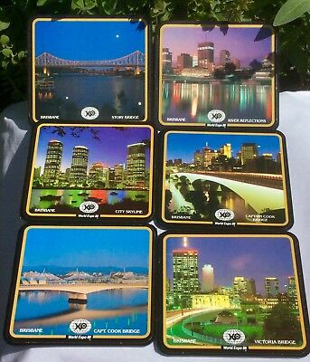 Box Set Of 6 Commemorative Designs World Expo 88 Brisbane Beer Drink Coasters