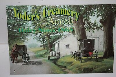 Yoder's Creamery AMISH Dairy Vintage style metal Sign GREAT SCENE!