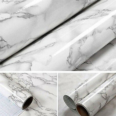Marble Contact Paper Self Adhesive Glossy Worktop Peel Stick Wallpaper Roll LJ