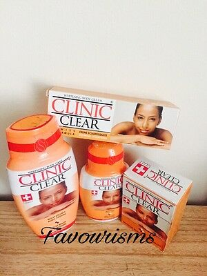 CLINIC CLEAR WHITENING BODY CARE LOTION, Tube CREAM, OIL & SOAP (SWISS FORMULA)