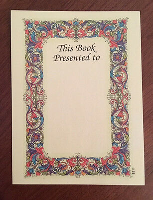 :) Vintage Antioch GIFT BOOKPLATE w/ Floral Frame - Self-Adhesive MINT CONDITION