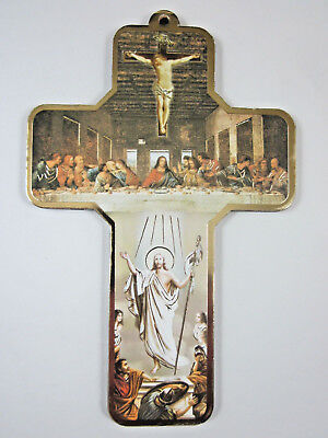 """Risen Christ  / Last Supper Picture Wall Cross on Wood  5"""" Made in Italy"""