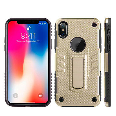 Shock Proof Dual Hybrid Metallic Armor Stand TPU Case Cover For iPhone X / XS