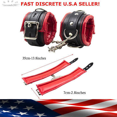 PU Leather Wrist Handcuffs Ankle Shackles Adjustable Restraint Sex Cuff Belt