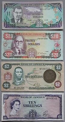 Jamaica, 1960 (64) 10 Shillings-VF. 1982-93 $100, $20 & $2 Note Set, 1871 Penny.