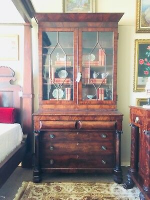 American Classical Empire Mahogany Secretary Bookcase