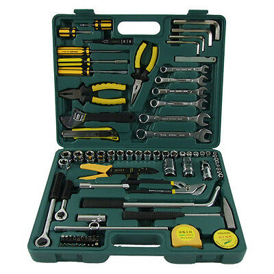 82 pcs Metric Spanner Wrench Socket Rachet Mechanic Car Repair Kit Tool Box Set