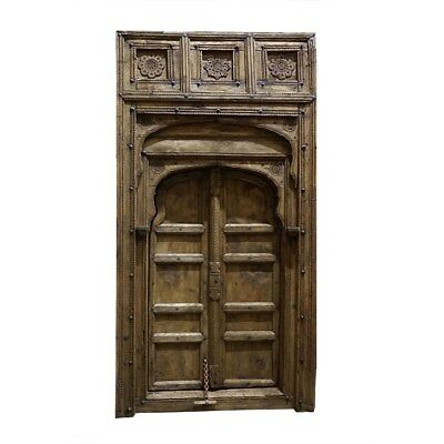 """107"""" High hand carved solid antique vintage wood door very unique one of a kind"""