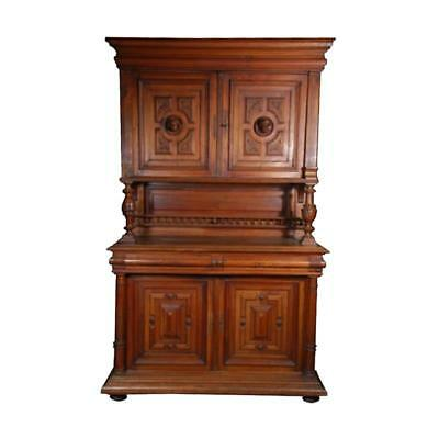 "90"" High hand carved details heavy solid wood cabinet 4 door unique medium brown"