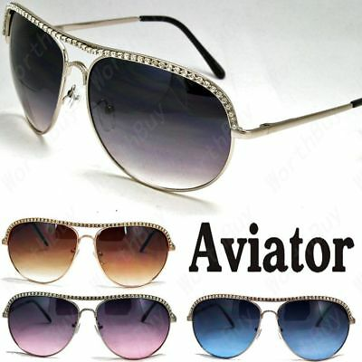 New Womens Rhinestones Fashion Metal Frame Sunglasses Shades Pilot Round Aviator