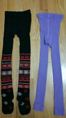 Hanna Andersson Tights 110 120 black footed stockings purple lilac footless
