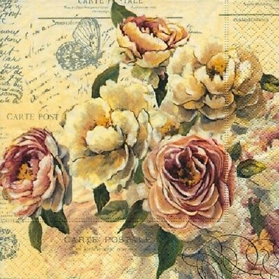 3 Paper Napkins for Decoupage / Tea Parties / Weddings - Roses