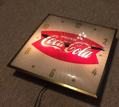 VINTAGE 1960s DRINK COCA-COLA   ADVERTISING FISH TAIL CLOCK - PAM CLOCK CO.