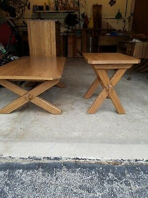 A. BRANDT VINTAGE RANCH OAK FURNITURE, Coffee Table and End Table