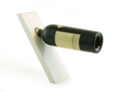 (White) - PLANK Lacquer Wood Wine Bottle Holder - Balances Wine in the Air,
