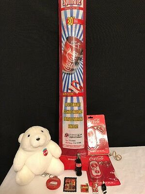 Coca Cola Lot Vintage Kite, Clip On Tins, Plush Bear, Metal Bottle Opener, pins
