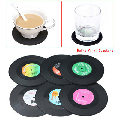 New 6PCS Round Spinning Hat Retro Vinyl Record Coaster Set Novelty Drink Mats