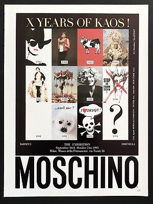 1993 Vintage Print Ad MOSCHINO Exhibition Style Fashion 90's