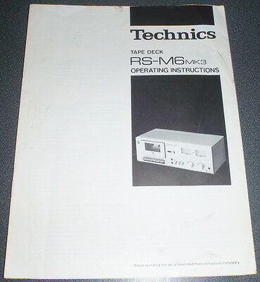 Manual : TECHNICS RS-M6 MK3 Tape Deck Operating Instructions - JAPAN.