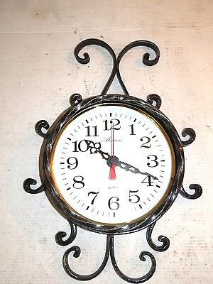 Wall clock quartz wrought iron golden