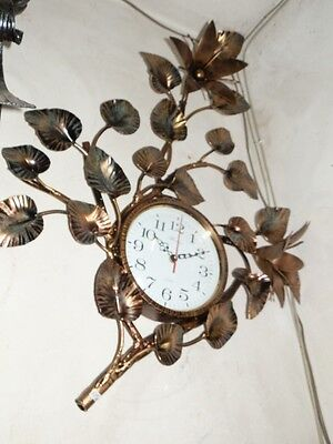 Wall clock LILY wrought iron gold color