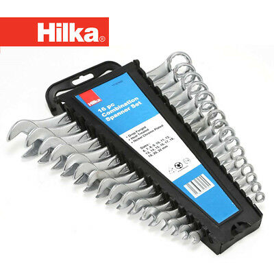 Hilka 16Pc Combination Spanner Set Combi Wrench Open End Ring Spanners 6-22mm