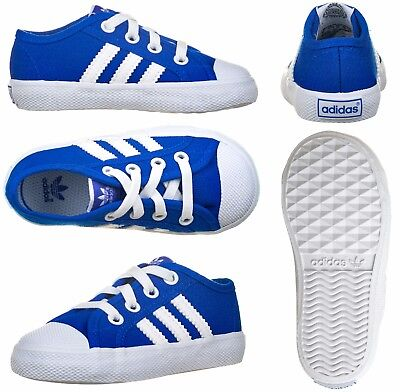 Adidas Originals Infants Kids Baby Boys Girls Canvas Trainers Shoes Blue White
