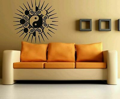 Moon Phases Yin Yang Sun Symbol Room Wall Vinyl Sticker Decal Art Decor #1379