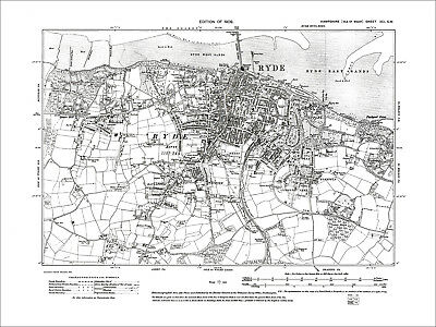 Ryde, Binstead, Swanmore, Old Map Hampshire Isle Of Wight 1909: 91SW