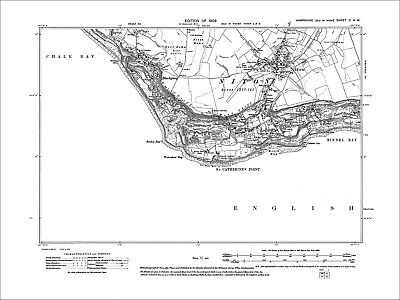 Blackgang, St Catherine Point, Niton, Old Map Hamp. Isle Of Wight 1909: 100NW
