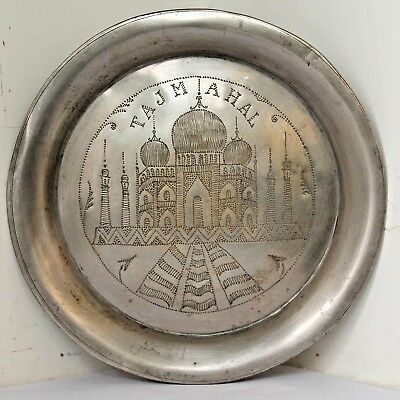 Old 1930's Antique Beautiful Handmade TAJ-MAHAL Design Carved Brass Plate / Tray