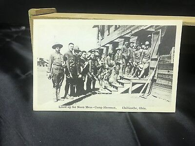 Vintage Chillicothe Ohio Camp Sherman postcard Lined Up for Noon Mess