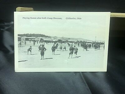 Vintage Chillicothe Ohio Camp Sherman postcard Playing Games After Drill