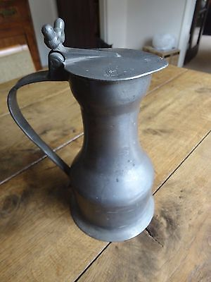 Antique 18C French Pewter Pitcher jug lidded with acorn handle