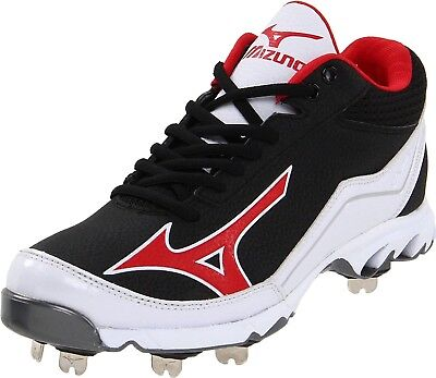 (13 D(M) US, Black/Red) - Mizuno Men's 9-Spike Swagger Mid Baseball Cleat