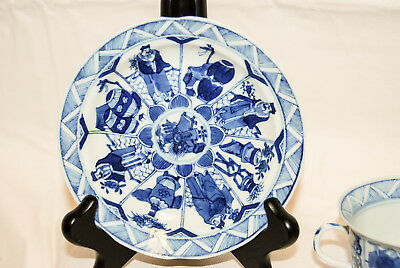 Antique 18th Century Chinese blue and white porcelain tea cup and saucer Kangxi