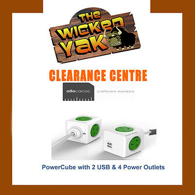 Allocacoc PowerCube 1.5m Extended USB Powerboard 4 Outlets 2 USB 2.1A GREEN