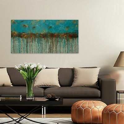 Turquoise and Brown Large Abstract Painting, Extra Large Original Wall Art 60x30